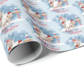 Funny Christmas Sheep at North Pole Wrapping Paper