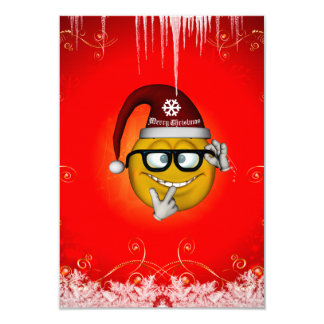 Funny christmas smiley 3.5x5 paper invitation card
