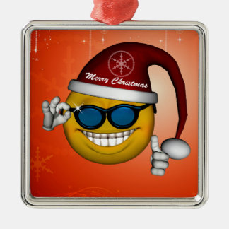 Funny christmas smiley square metal christmas ornament