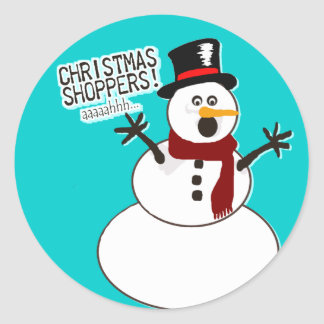 Funny Christmas Snowman Classic Round Sticker