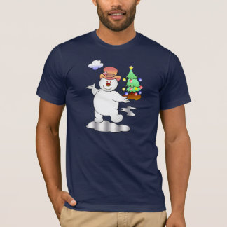 Funny Christmas Snowman Standing in an Icy Puddle T-Shirt