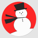 Funny Christmas Snowman with Top Hat Stickers