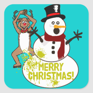 Funny Christmas Square Sticker