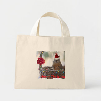 Funny Christmas Squirrel Mini Tote Bag
