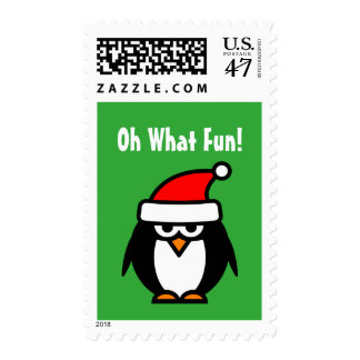 Funny Christmas stamps with grumpy penguin