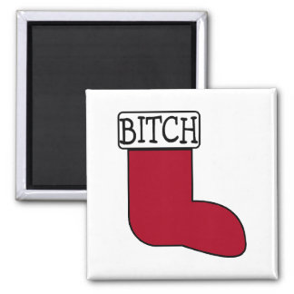 Funny Christmas Stocking 2 Inch Square Magnet