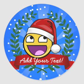 Funny Christmas Style Awesome Face Meme Classic Round Sticker