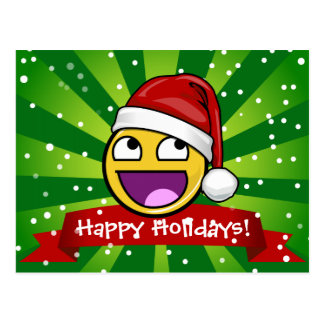 Funny Christmas Style Awesome Face Meme Postcard