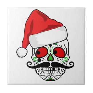 Funny Christmas Sugar Skull Tile