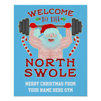 Funny Christmas Swole Santa Claus | Custom Gym Poster