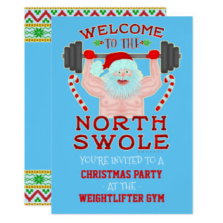 Funny Christmas Swole Santa Weightlifter Gym Party Card at Zazzle