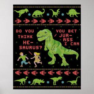 Funny Christmas T Rex Dinosaur Pun Humor Faux Knit Poster