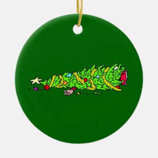Funny christmas tree cartoon double sided ceramic round
