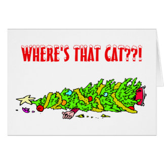 Funny Christmas Tree Cat Greeting Cards