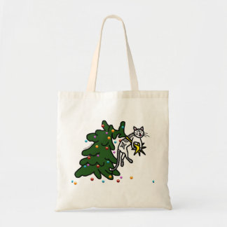 Funny Christmas Tree Catastrophe Cat Totebag Tote Bag