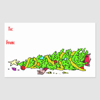 Funny Christmas Tree Gift Tag Rectangle Sticker