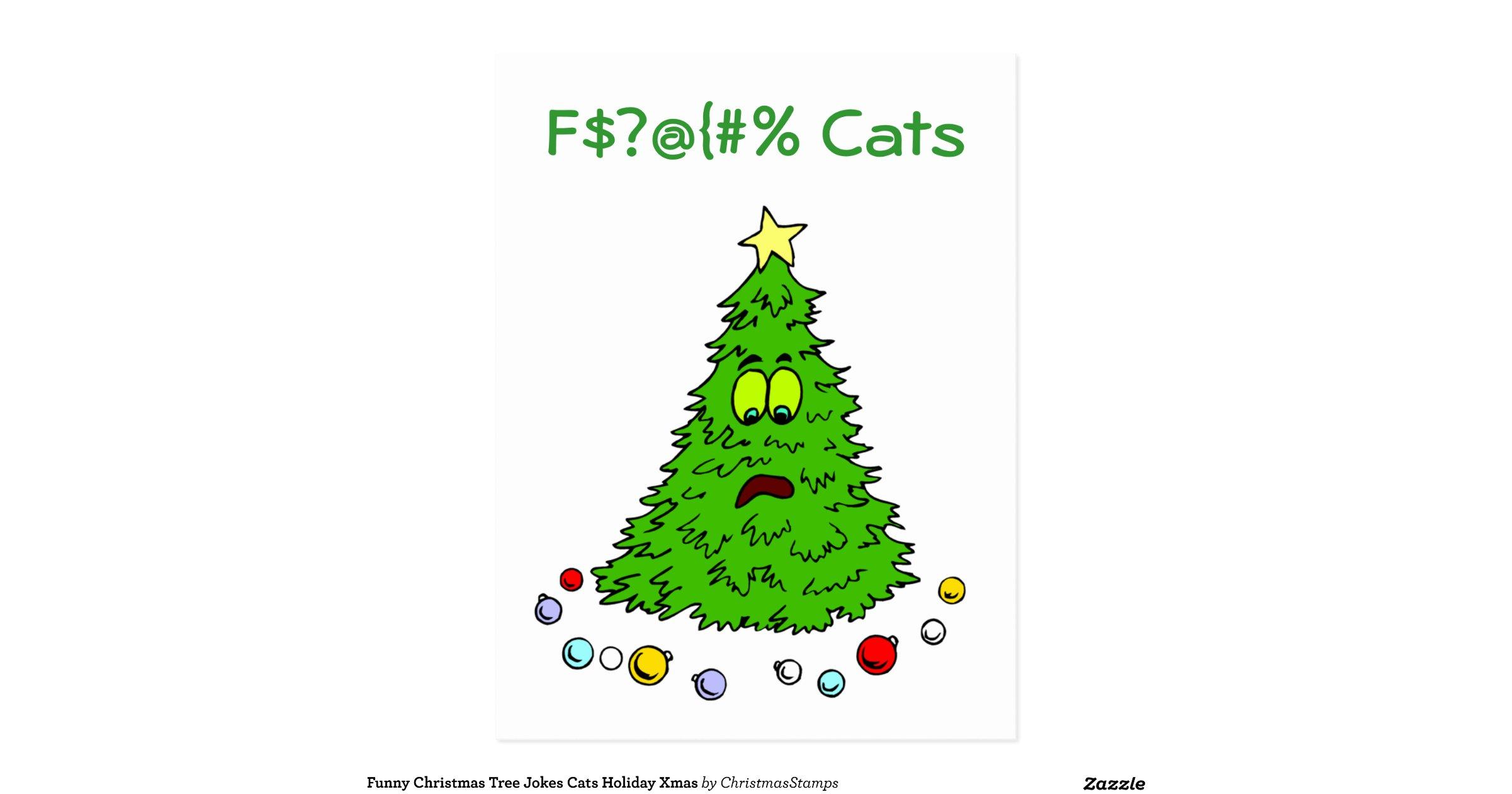 Funnychristmastreejokescatsholidaypostcard