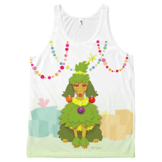 Funny Christmas Tree Poodle All-Over-Print Tank Top