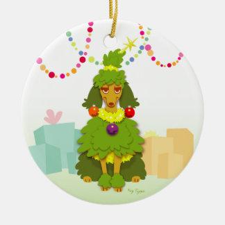 Funny Christmas Tree Poodle Ceramic Ornament