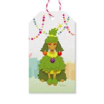 Funny Christmas Tree Poodle Gift Tags