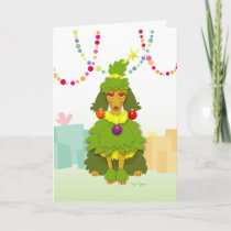 Funny Christmas Tree Poodle Holiday Card