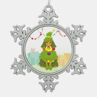 Funny Christmas Tree Poodle Snowflake Pewter Christmas Ornament