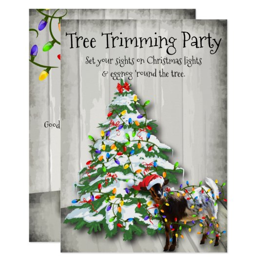 Funny Christmas Tree Trimming Party Goat Invitation