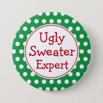 Funny Christmas Ugly Sweater Expert Button Pin