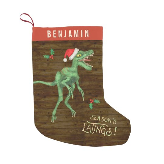 funny christmas velociraptor dinosaur custom name small christmas stocking - Funny Christmas Stockings