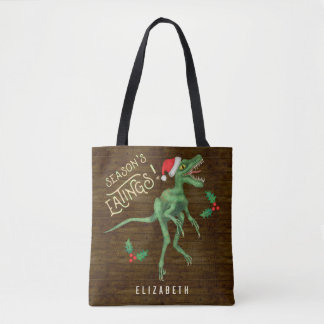 Funny Christmas Velociraptor Dinosaur Custom Name Tote Bag