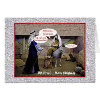 Funny Christmas Virgin Mary and Joseph in barn Card