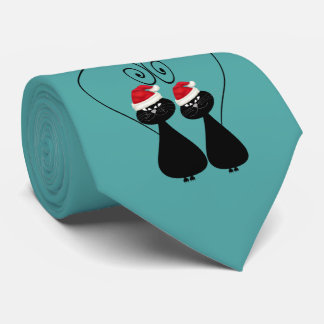 Funny Christmas whimsical cartoon cat love couple Tie