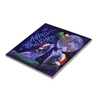 Funny Christmas Wolf Howlidays Pun Humorous Tile