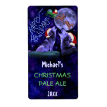 Funny Christmas Wolf Pun Beer Bottle Craft Brewing Label