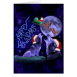 Funny Christmas Wolf Pun Happy Howlidays Custom Card