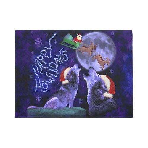 Funny Christmas Wolf Pun Happy Howlidays Doormat