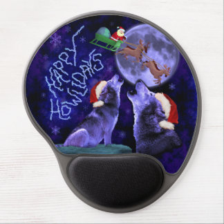 Funny Christmas Wolf Pun Happy Howlidays Humor Gel Mouse Pad