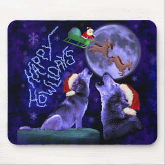 Funny Christmas Wolf Pun Happy Howlidays Humor Mouse Pad