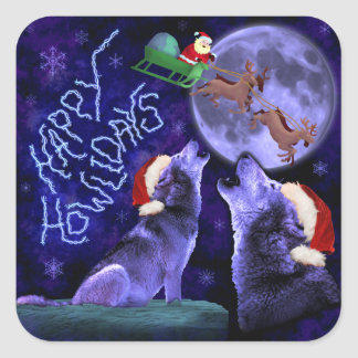 Funny Christmas Wolf Pun Happy Howlidays Humor Square Sticker