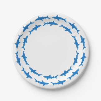 Funny Circling Sharks Custom Beach Party Paper Plate