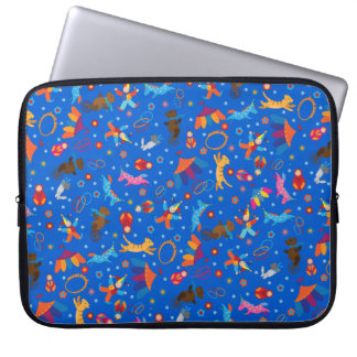 Funny circus cartoon animals pattern computer sleeve