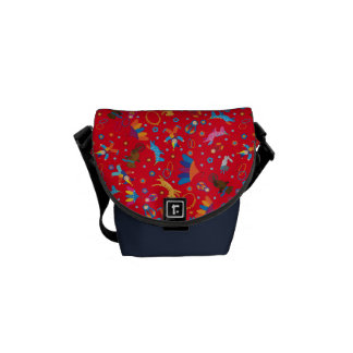 Funny circus cartoon cute animals pattern courier bag