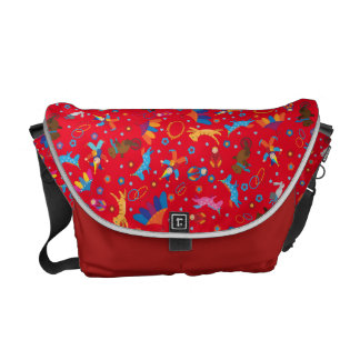 Funny circus cartoon cute animals pattern messenger bag