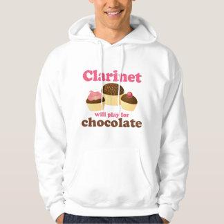Funny Clarinet Will Work For Chocolate Hooded Sweatshirt