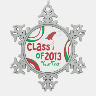 Funny Class of 2013 Santa Hat Graduation Tassel Snowflake Pewter Christmas Ornament