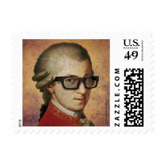 Funny Classical Composer Happy Hipster Mozart Postage
