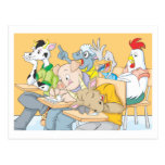 Funny Classroom Composed of Farm Animals Post Cards