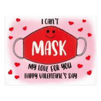 Funny Classroom Valentines Mask Social Distancing Postcard
