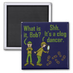Funny Clogger Footsteps Cartoon Magnet 2 Inch Square Magnet