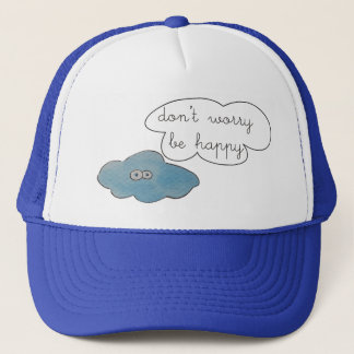 Funny Clouds Don't Worry Be Happy Collage Trucker Hat